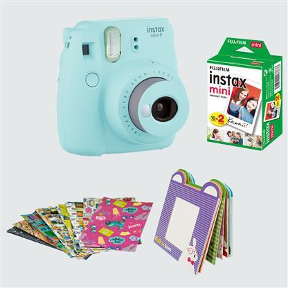 buy FUJIFILM INSTAX CAMERA MINI 9 BUNDLE PACK ICE BLUE :Instant Camera