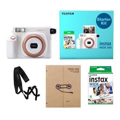 buy FUJIFILM INSTAX CAMERA WIDE 300 STARTER KIT WHITE :Instant Camera
