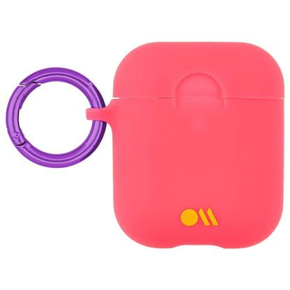 buy Case-Mate AirPods Case Cover Hook Ups - Silicone Compatible with Apple AirPods Series 1 & 2 - Living Coral Light Pink (With Clip Ring & Neck Strap) :Casemate