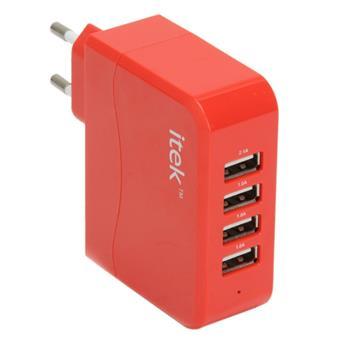 buy ITEK FOUR PORT USB WALL ADAPTER RED :ITEK