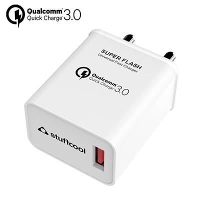 buy Stuffcool Super Flash universal compatible Qualcomm Quick Charge QC 3.0 USB Wall Fast Charger / Adapter for All iOS & Android Devices - White :Stuffcool