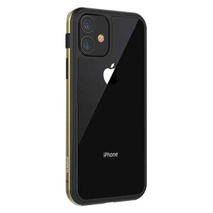 """buy Stuffcool Frame Hard Clear Back Case Cover with Slim Metallic Bumper for Apple iPhone 11 6.1"""" - Gold :Stuffcool"""