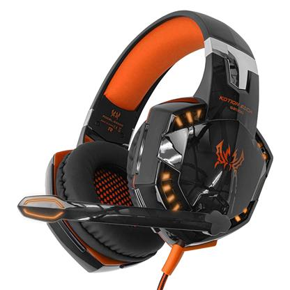 buy Kotion Each Over the Ear Headsets with Mic & LED - G2000 Edition (Black/Orange) :Cosmic Byte