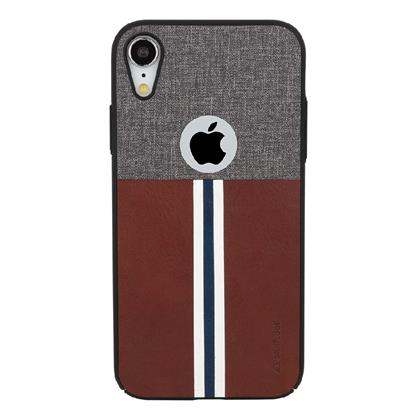 buy Stuffcool Eto Sport Stylish & Sporty PU Leather Back Case Cover for Apple iPhone XR - Grey / Dark Brown :Stuffcool