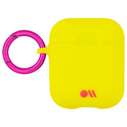 buy Case-Mate AirPods Case Cover Hook Ups - Silicone Compatible with Apple AirPods Series 1 & 2 - Lemon Lime Yellow (With Clip Ring & Neck Strap) :Casemate